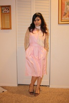 pink vintage dress - white wrap scarf - beige sweater - brown shoes - gold headb