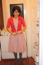 red no brand sweater - red dress - green tights - red shoes - white vintage earr