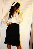 beige vintage blouse - black Gapifted vintage skirt - beige DIY accessories