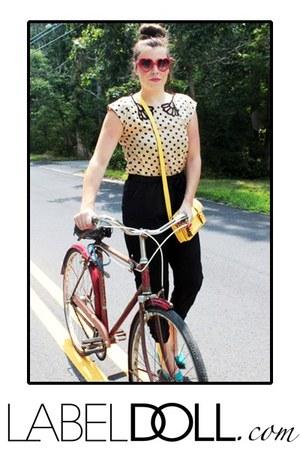 very J jumper - yellow purse - red sunglasses