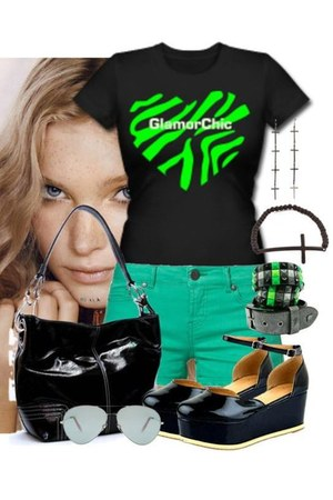 black shoes - black bag - black bracelet - heather gray earrings - black t-shirt