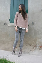 gray H&M jeans - bronze Guess boots - light pink H&M sweater