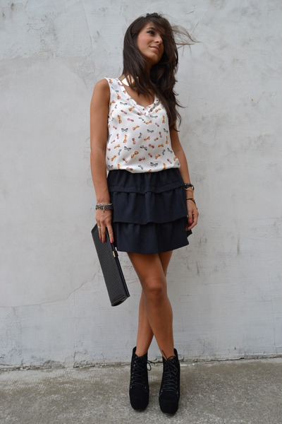 white Zara blouse - black Zara skirt