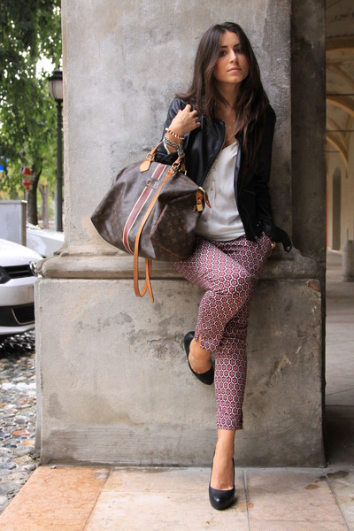 black Zara blazer - dark brown Louis Vuitton bag - brick red H&M pants