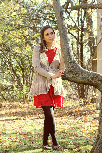 light brown cardigan - red dress - gold earrings