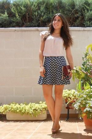Stradivarius skirt - Pimkie bag - Oysho t-shirt - Stradivarius heels