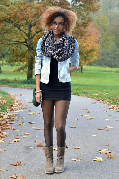 tan leopard Vero Moda scarf - tan suede shabbies boots - black lbd H&M dress