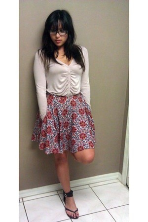 floral Forever 21 skirt - purple-pink Forever 21 cardigan