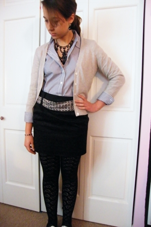 black Betsey Johnson tights - black Forever 21 skirt - white JCrew shirt - beige