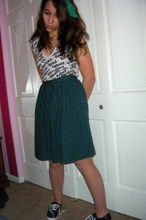 white American Apparel shirt - green vintage skirt - black Keds shoes