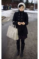 black New Yorker coat - vintage dress - black reservd bag accessories - beige re