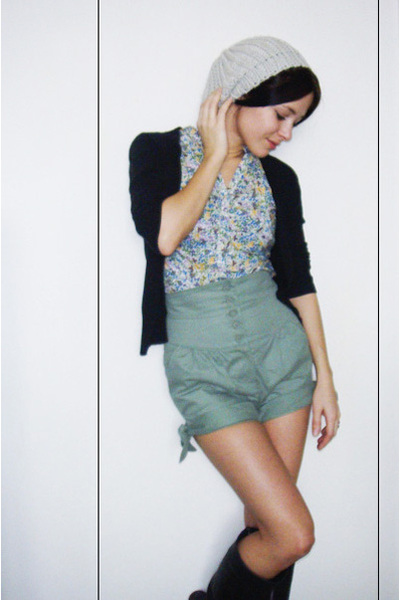 Topshop shorts - H&M blouse - H&M cardigan - reservd hat - Topshop boots