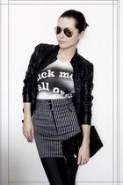 black vintage jacket - vivienne westwood t-shirt - Vintage H&M skirt - black Han