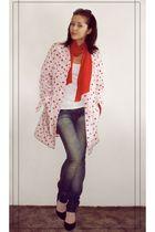vintage coat - Zara jeans - moms shoes