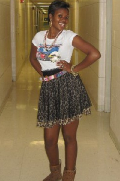 White Ts, Shirts, Black Forever21 Skirts, Brown Uggs Boots ...