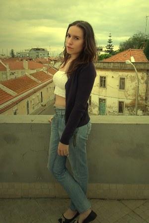 light blue denin Zara jeans - white Tally Weijl top - navy Zara cardigan