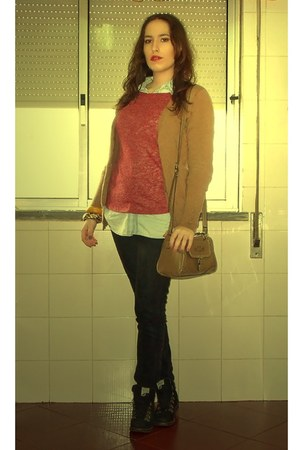 black Zara jeans - black Guimarães boots - maroon Zara sweater