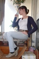 periwinkle Zara jeans - beige Seaside shoes - beige Majoma bag