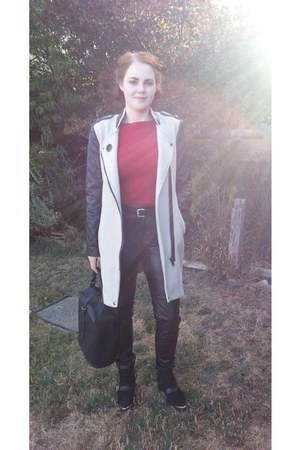 black Sportsgirl boots - beige Glassons coat - black bag - black Sportsgirl bag