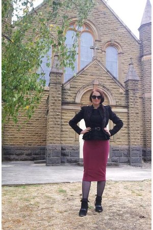 black suede buckle Sportsgirl boots - black velvet military Target jacket