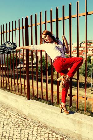 white Zara shirt - navy Zara bag - red Zara pants - tawny Aldo sandals - light p