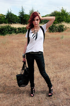 black Zara bag - white Zara t-shirt - silver Zara belt - black Mango pants - bla