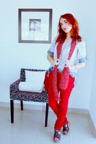 red Bijou Brigitte scarf - blue Zara shirt