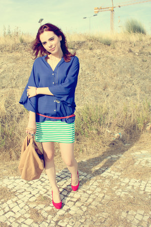 blue Zara shirt - camel Mango bag - red Mango belt - hot pink Zara pumps - chart