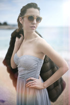 silver Bershka dress - brown sable Carlo Ramello coat