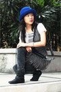 Aldo-boots-blue-hat-h-m-hat-forever-21-pants-zara-vest-topshop-top