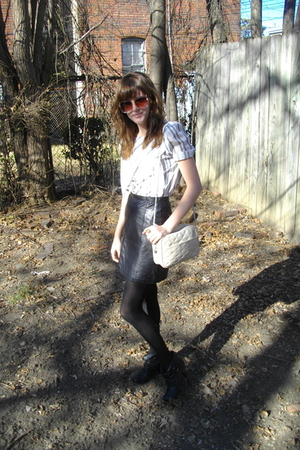 white unknown brand blouse - black unknown brand skirt - black unknown brand tig