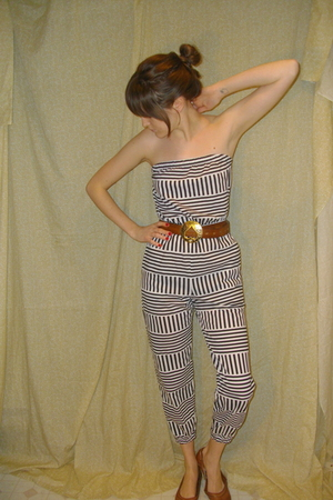 white American Apparel suit - brown unknown brand belt - brown xhiliration shoes