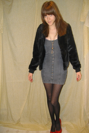 black H&M jacket - gray H&M dress - tights - silver vintage necklace - red Nine