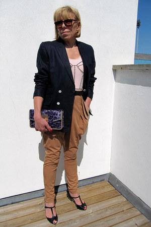 vintage blazer - vintage top - H&M pants - Melissa wedges