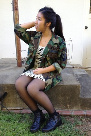 flea market jacket - thrifted boots - H&M dress