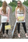 White-dress-yellow-bag-gold-necklace-gold-bracelet