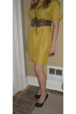 yellow vintage dress - brown wild diva shoes - brown not sure belt - black not s