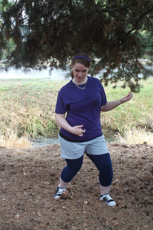 purple Michaels Craft Store shirt - silver shorts - blue wal-mart leggings - pur