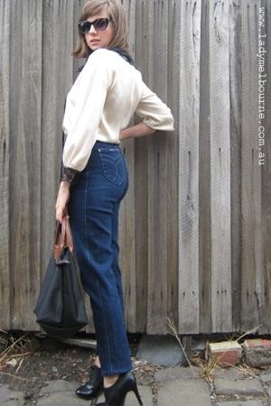 faberge jeans - Carla Zampatti blouse - Primark boots - longchamp accessories -