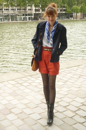 black Miu Miu boots - blue vintage jacket - black H&M tights