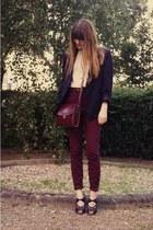 vintage jacket - vintage shirt - vintage bag - Rochas heels