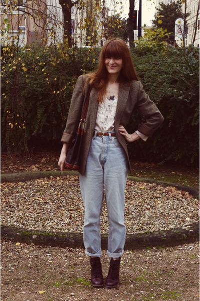 blazer - Topshop boots - jeans - H&M Trend blouse