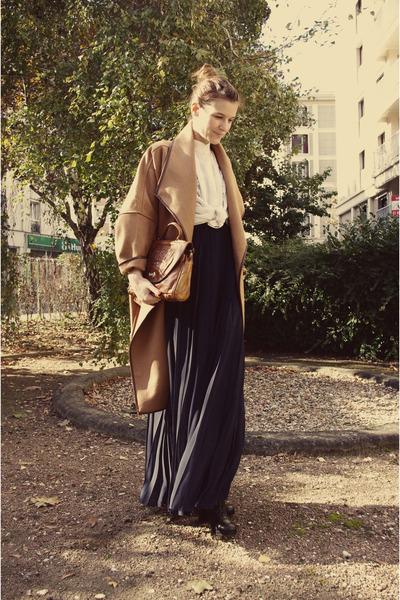 blue H&M Trend dress - black Miu Miu boots - beige H&M Trend coat