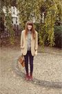 Red-boots-silver-h-m-sweater-beige-burberry-blazer-brown-bag