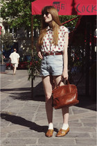 vintage shoes - thrifted shirt - vintage bag - thrifted shorts - thrifted belt