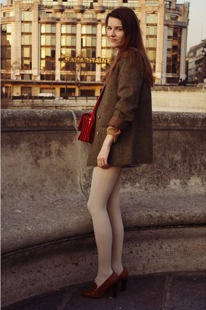 vintage blazer - new look tights - Zara bag - JB Martin heels