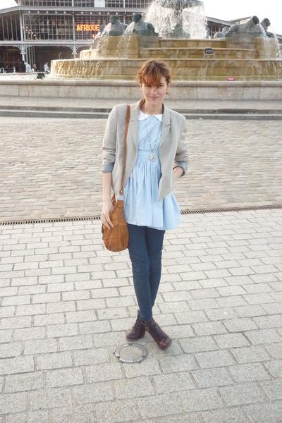blue Violette Tannenbaum dress - asos jeans - beige Zara jacket - purple Topshop