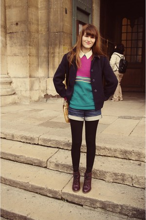 ruby red Topshop boots - magenta sweater - navy blazer