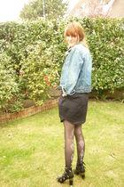 black ANDRE shoes - black H&M Trend skirt - blue vintage jacket - black Chantal