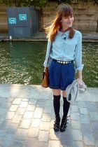 blue Kookai shirt - blue Topshop shorts - black ANDRE shoes - black DIM socks